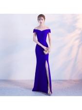 Elegant Off Shoulder Slit Fishtail Short Sleeve Dress