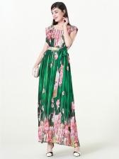 Fresh Printed Draped Smart Waist Long Dress