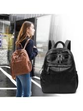 Easy Match Zipper Up Solid Double Shoulder Bag