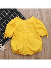 Solid O Neck Short Sleeve Infant Girls Rompers