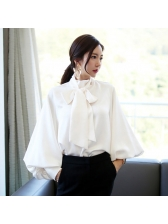 Stylish Office Lady Bow Tie Lantern Sleeve Loose Blouse