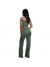 Crossover V Neck Off Shoulder Top With Long Pants