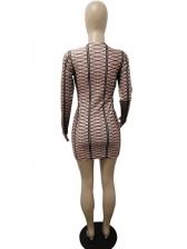 Brown Grid Long Sleeve Sexy Night Club Dress