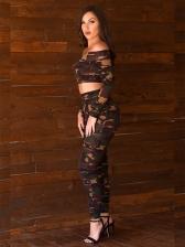 Off Shoulder Camouflage Prints Women Suits