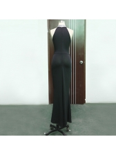 New Style Halter Fitted Wrap Long Black Evening Dress