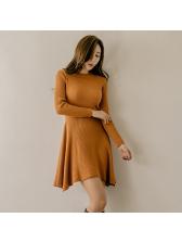 Stylish Crew Neck Solid Knitting A-Line Dress