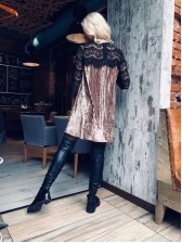 Hot Selling Three Quarter Sleeve Lace Pleated Dress