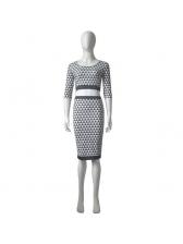 Sexy Midriff Geometric Printed High Waist Suit