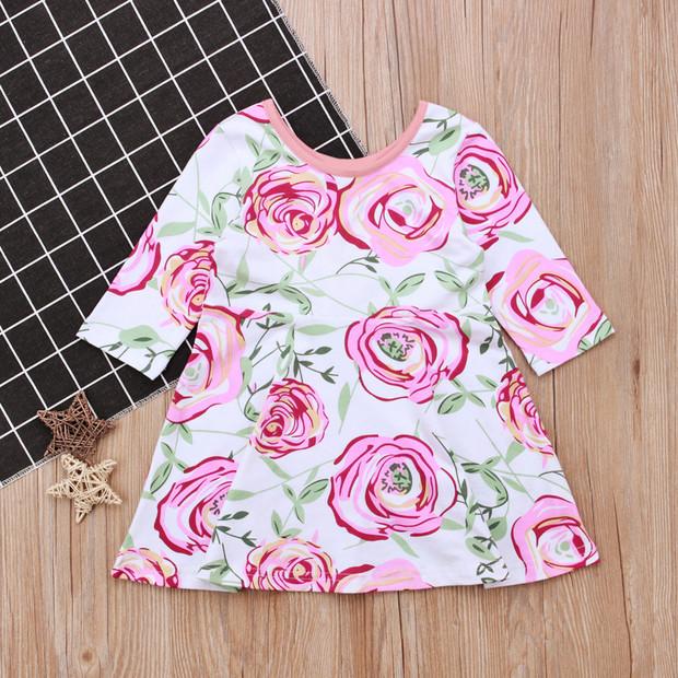Spring Crew Neck Flower Printing Dress For Girl
