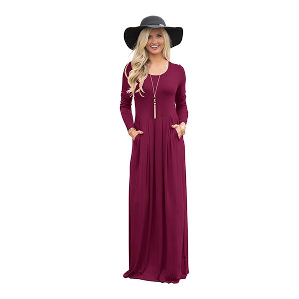 Cheap Outlet O Neck Pocket Maxi Dress