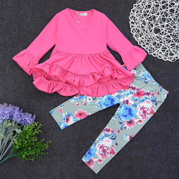 Sweet Flounce Top With Floral Pants Girls Set