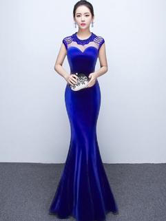 Elegant O Neck Beading Mermaid Prom Dress
