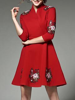 Embroidery V Neck A Line Short Dresses