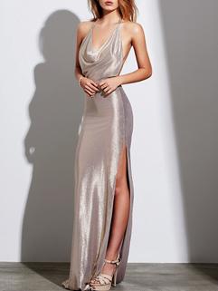Sexy V-Neck Halter Solid Slit Sequined Evening Dress
