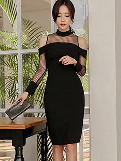 Korean OL O-Neck Gauze Patchwork Off Shoulder Dress