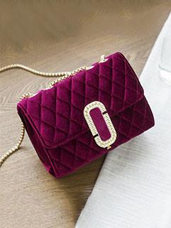 Fashion Diamond Hasp Chain Velvet Shoulder Bag