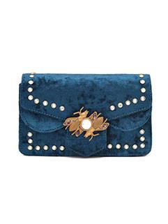 Chic Beading Hasp Velvet Square Shoulder Bag
