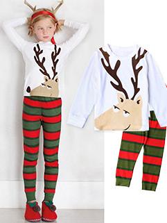 Christmas Deer Printing Tee With Striped Pants