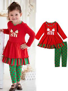 Hot Selling Long Sleeve Christmas Printing Girls Sets