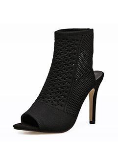 Stylish Peep Toe Open Back Black Sock Boots