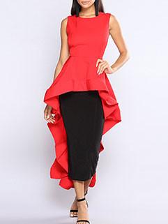 Fashion Crew Neck Sleeveless Asymmetrical Dress
