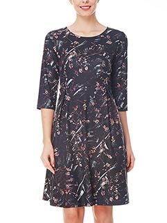 Euro Style 3/4 Sleeve O NECK A-line Dress