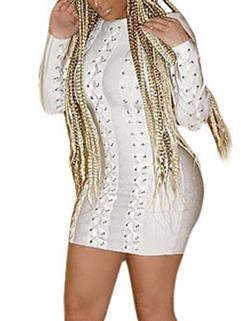 Night Club Bandage Design White Long Sleeve Dress
