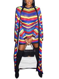 Night Club Stylish Colorful Stripe Mini Dress w Pashmina