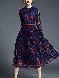 Noble Color Match Lace Long Sleeve A-Line Dress