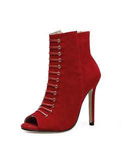 Euro Style Peep Toe Stiletto Heel Ankle Boots
