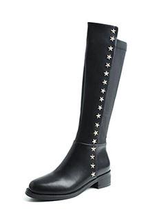 Star Rivets Patchwork Black Tall Boots