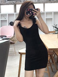 Sexy Feather Patchwork Sleeve Black Wrap Dress