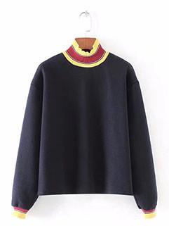 Color Block Turtle Neck Stylish Sweatshirt(3-4 Days Delivery)