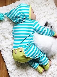 Hot Selling Color Contrast Stripe Hooded Sleepsuit