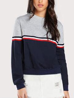 Casual Color Block O Neck Women Sweatshirt