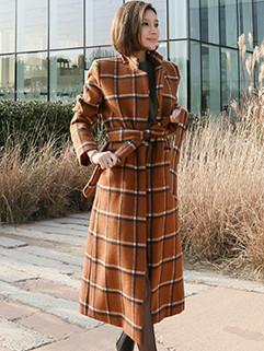 Korean Style Lapel Plaid Bandage Long Coat