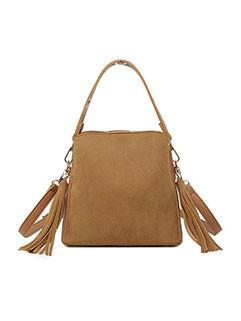 Vintage Zipper Up Tassel Scrub Shoulder Bag