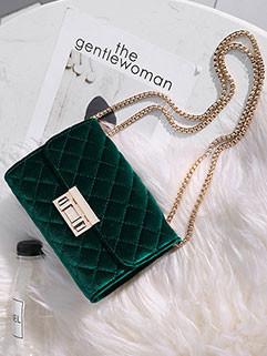 Korean Hasp Diamond Velvet Square Shoulder Bag
