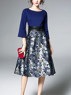 Elegant Flare Sleeve Patchwork Print A-Line Dress
