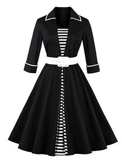 Hot Sale Vintage Style Half Sleeve A-line Dress w Belt