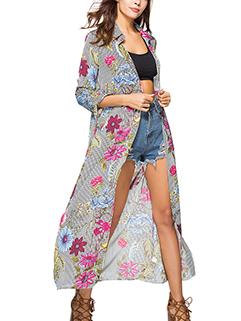 Hot Selling Flower Printing Bandage Chiffon Long Coat