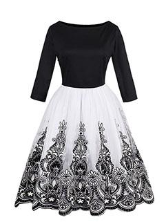 Embroidery Flower O Neck Gauze Vintage Dress