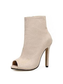 Euro Simple Design Peep Toe Ankle Boots