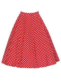 Easy Match High Waist Dots Printing Pleated Skirt