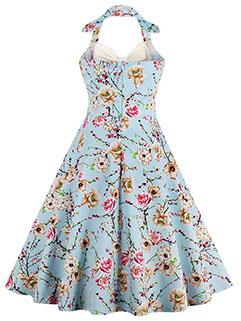 Vintage Sexy Floral Halter Dress