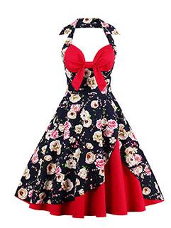 Flower Patchwork Wrap Sexy Halter Dress