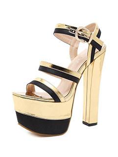 Nightclub Color Block Chunky High Heel Sandals