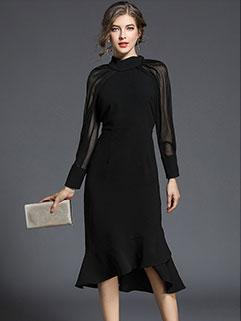 Trendy Gauze Patchwork Fishtail Elegant Black Dress