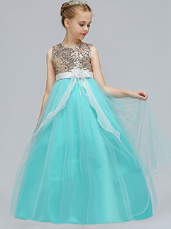 Sequined Sleeveless Girls Prom Dresses