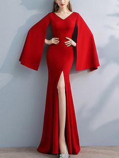 New Arrival V Neck Split Floor Evening Dress